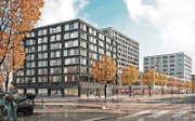 The photo shows two buildings at Europaallee in Zurich, where SBB Real Estate is constructing according to the DGNB standard.